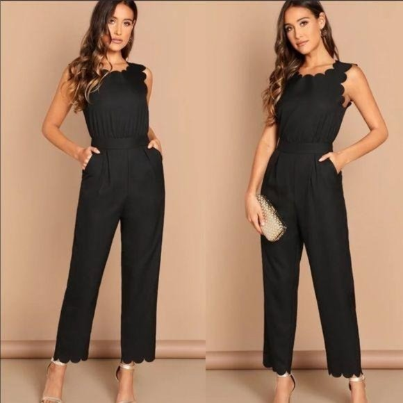 Shein Black Jumpsuit With Scalloped Edges, L